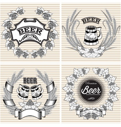 Set of wreaths of rye and hops for beer vector