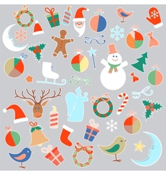 Isolated christmas toys and objects vector