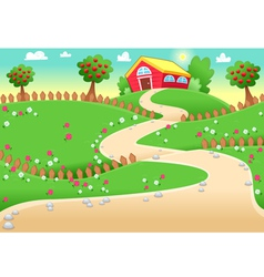 Funny landscape with farm vector