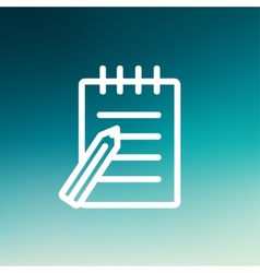 Writing pad and pen thin line icon vector