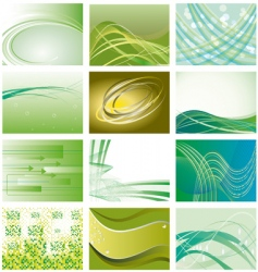 Collection of green geometric backgrounds vector