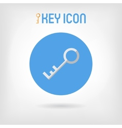 Flat design silver key icon vector