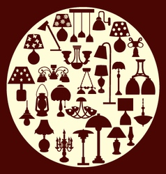 Chandelier and lamp silhouette - vector