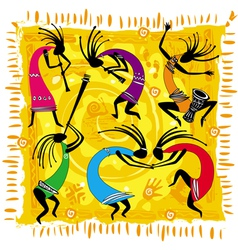 Dancing figures on an orange background vector