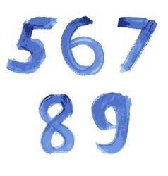 Handwritten blue watercolor alphabet vector
