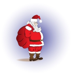 Santa claus with a bag of gifts merry christmas vector