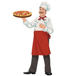 Chef with fresh pizza - vector