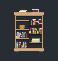 Flat design of library bookshelf vector