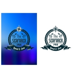 Retro seafarer tattoo or marine banner vector