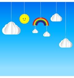 Sun cloud rainbow hanging on threads sky vector