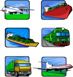 Six pictures of vehicles vector