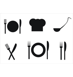 Plateknife a ladleful of soup fork and toque vector