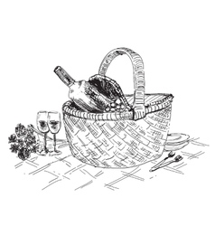 Picnic basket with wine and glasses vector