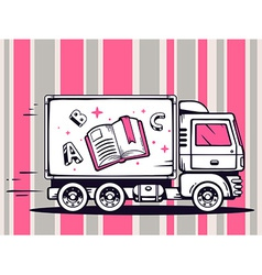 Truck free and fast delivering open book vector