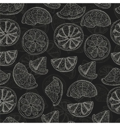 Seamless pattern with doodle citrus fruits vector