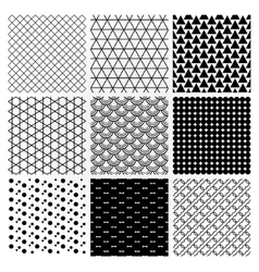 Geometric monochrome seamless background patterns vector