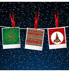 Christmas with photo frame with pegs over snowing vector