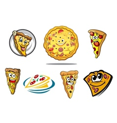 Colorful cartoon pizza characters and icons vector