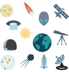 Flat of various space elements vector