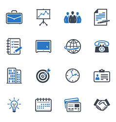 Business and office icons color - blue series vector