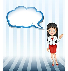 A girl talking with an empty cloud template vector