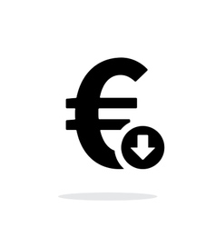 Euro exchange rate down icon on white background vector