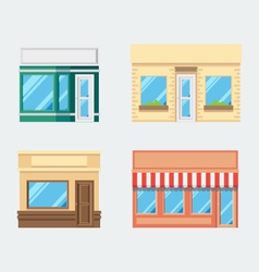 Flat design of front shop set vector