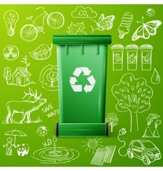 Green recycle bin and ecology doodle icons vector