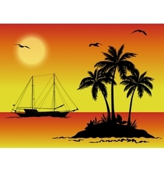 Sea landscape with palms and ship silhouettes vector