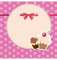 Vintage frame wit bow and cute cupcakes vector
