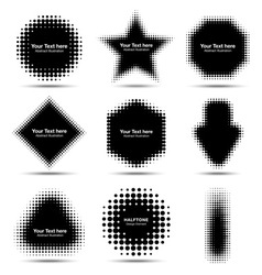Set of 9 abstract halftone design elements vector