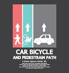 Car bicycle and pedestrian path vector