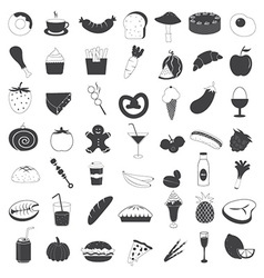 Food and drink icons collection vector