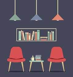 Modern design interior chair and bookshelf vector