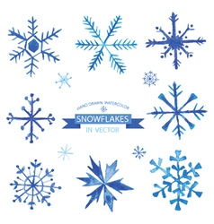 Set of snowflakes - hand drawn in watercolor vector