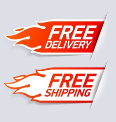 Free delivery and shipping labels vector