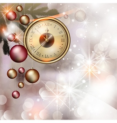 Bright christmas background with clock vector