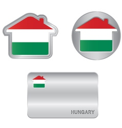 Home icon on the hungarian flag vector