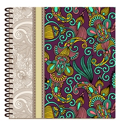 Design of spiral ornamental notebook cover vector