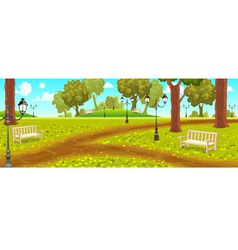 Park with benches and street lamps vector