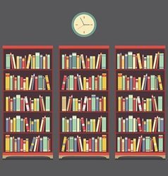 Three bookcase vintage design vector