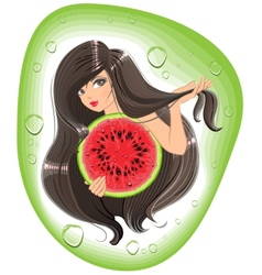 Brunette girl holding a watermelon template label vector