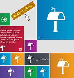 Mailbox icon sign metro style buttons modern vector