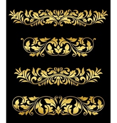 Retro gold floral elements and embellishments vector