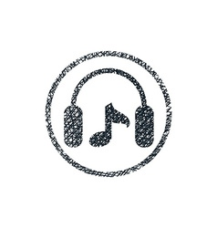 Headphones with music note icon with hand drawn vector