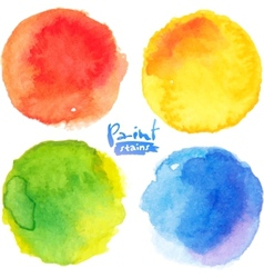 Bright colors watercolor painted stains set vector