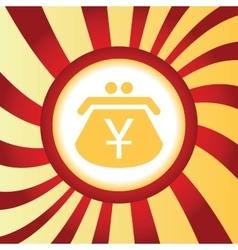Yen purse abstract icon vector