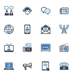 Communication icons set 2 - blue series vector