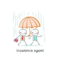Insurance agent protects a person from the rain vector