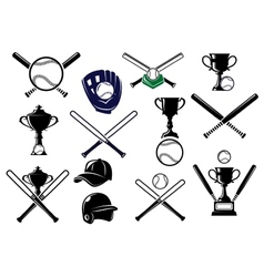 Baseball equipments set vector